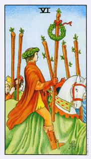Betekenis van de tarotkaart staven zes in het kaartleggen