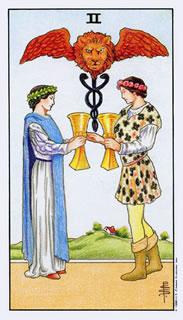 De betekenis van de tarotkaart bekers twee in het kaartleggen met de tarot