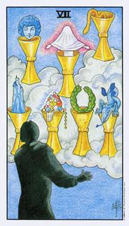 de betekenis van de tarotkaart bekers zeven bij het kaartleggen met de tarot