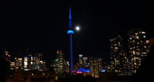 Overcome Obstacles - CN Tower glows blue in honour of the Blue Jays victory
