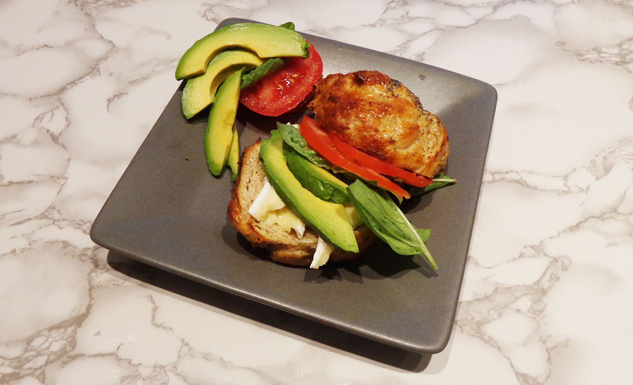eating lunch - Avocado, brie, tomato & basil