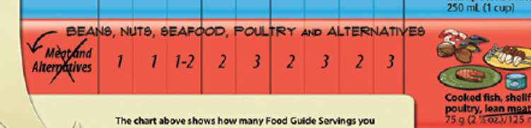Rename the Meat and Alternatives food group: Beans, nuts, seafood, poultry and alternatives