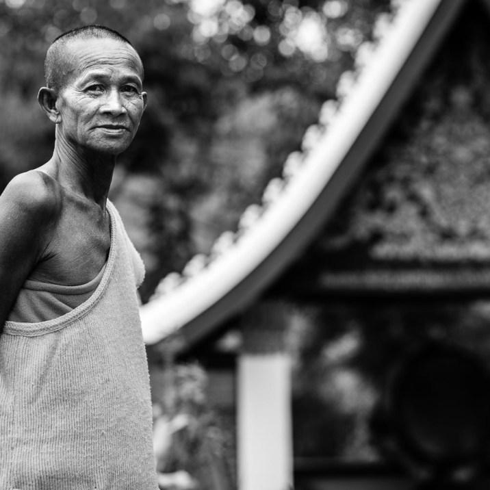 luang prabang wat chompet monk portrait