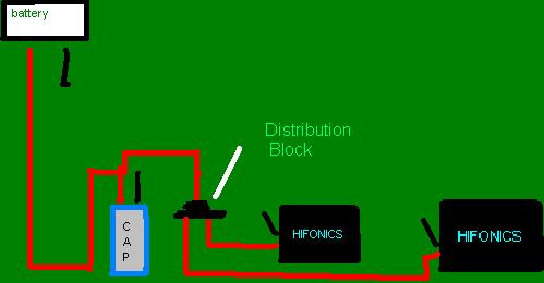 diagram for wiring 1 capacitor to 2 amps