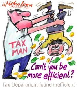 Cartoon of tax man emptying pockets of a reluctant tax payer!