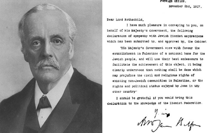Lord Balfour and the Declaration written in his name