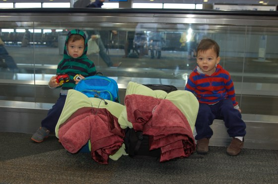 Sitting with our carry-on backpacks at San Francisco Int'l Airport