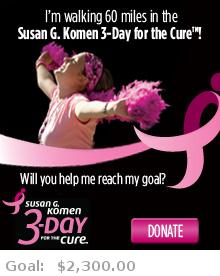 Help me reach my goal for the Susan G. Komen Atlanta 3-Day for the Cure!