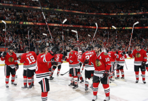 CHICAGO, IL - MAY 11:   Chicago Blackhawks celebrate after winning the Western Conference Semifinal Round of the 2009 Stanley Cup Playoffs against the Vancouver Canucks on May 11, 2009 at the United Center in Chicago, Illinois. (Photo by Bill Smith/NHLI via Getty Images)