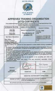 Accredited with SACAA (SOUTH AFRICAN CIVIL AVIATION ASSOCIATION)