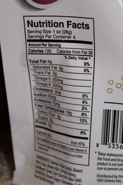 Chia Bites Nutritional Information