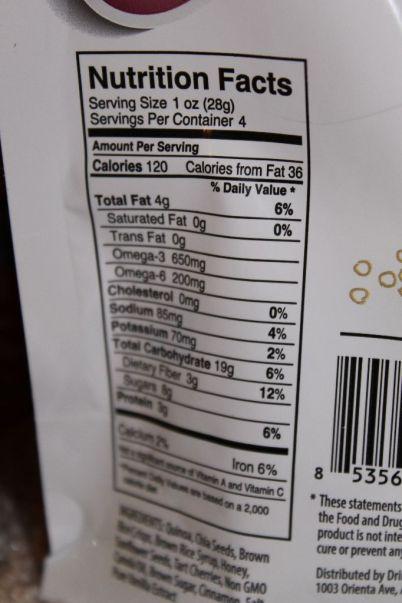 Chia Bites Nutritional Information