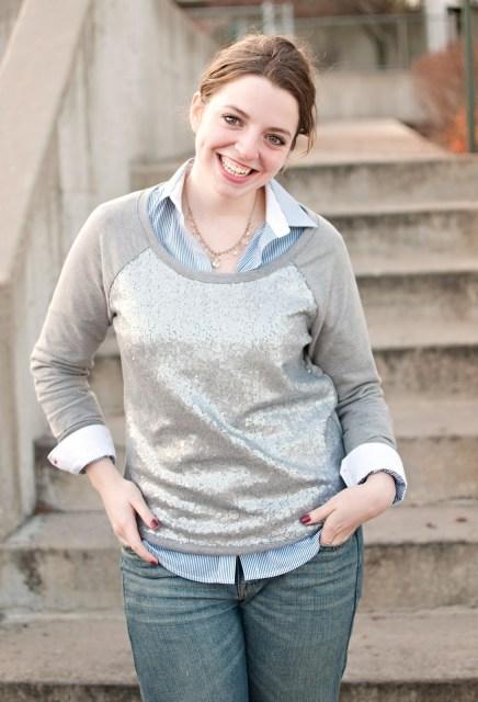 Sequin Sweatshirt, Boyfriend jeans, Zara Shirt, Opi Polish