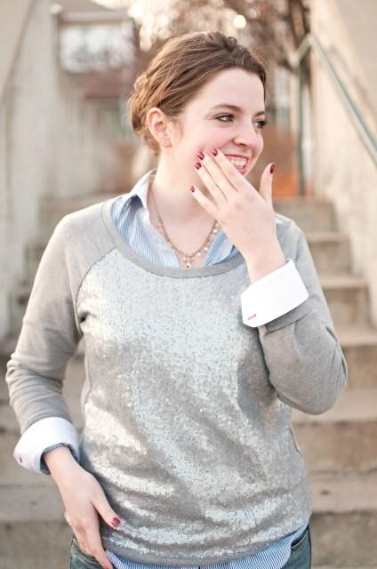 Sequin Sweatshirt, College