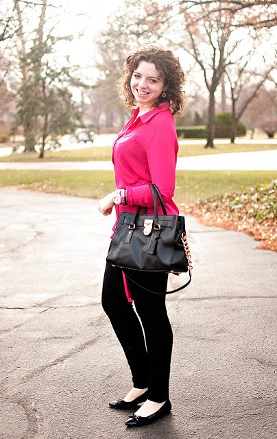 Pink tunic and black pants