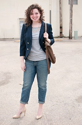 Navy blue blazer with boyfriend jeans