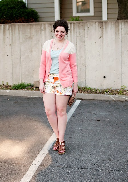 Floral Shorts with Color Blocked Cardigan