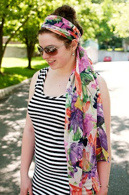 Striped Maxi Dress with Headscarf