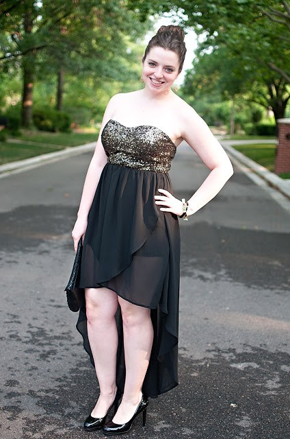 Sequin hi low dress