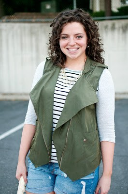 Green Olive Vest with Destructed Shorts