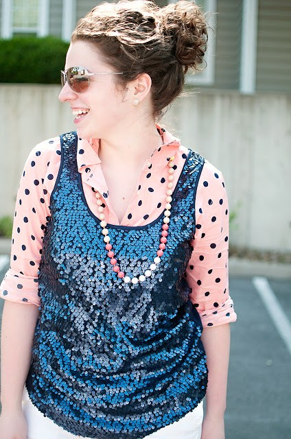 Sequin tank with polka dot layered shirt