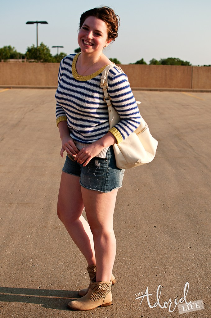 Striped sweater and shorts with booties