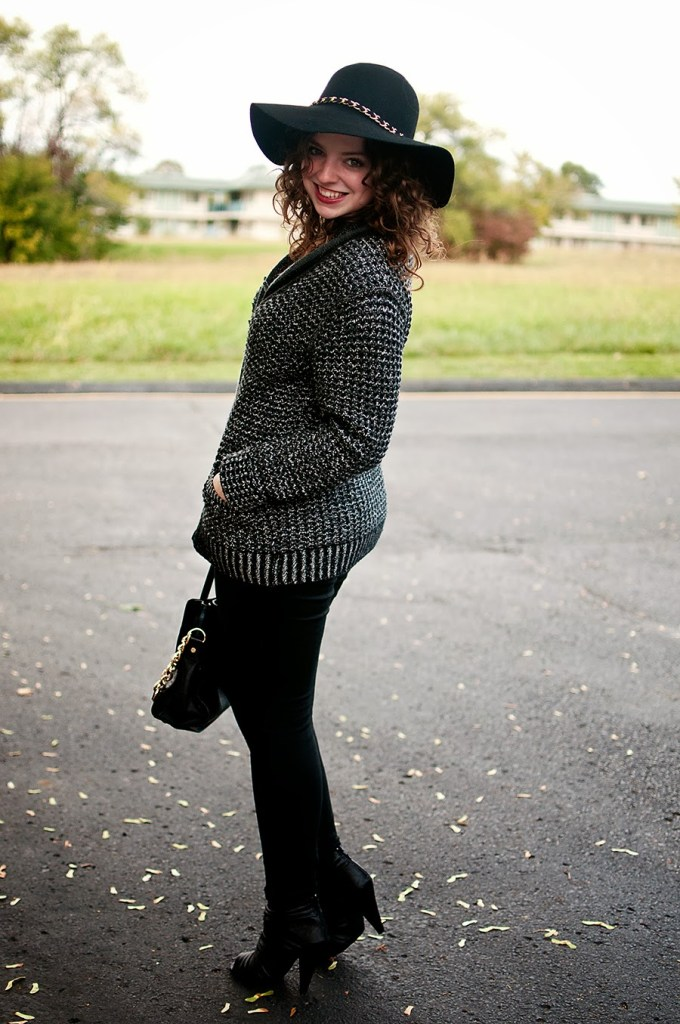 Black and white winter outfit with hat
