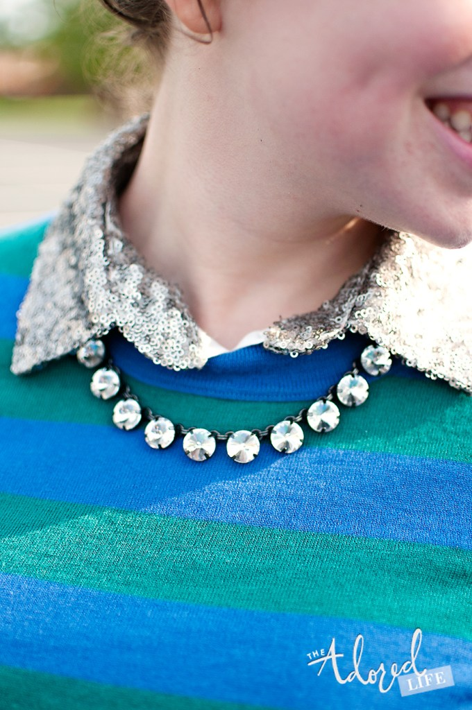 Sequin Collar Shirt Layered