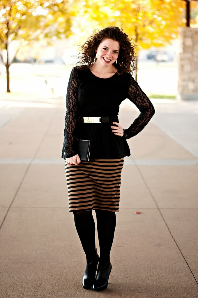 Black lace peplum with gold belt and striped skirt