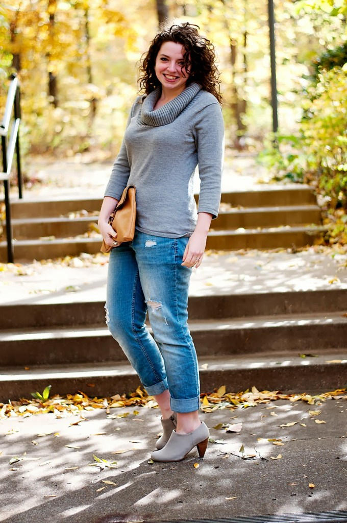Grey Sweater and Boyfriend Jeans