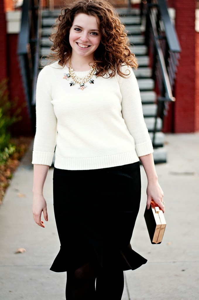 Black and White Fall Outfit with Statement Necklace