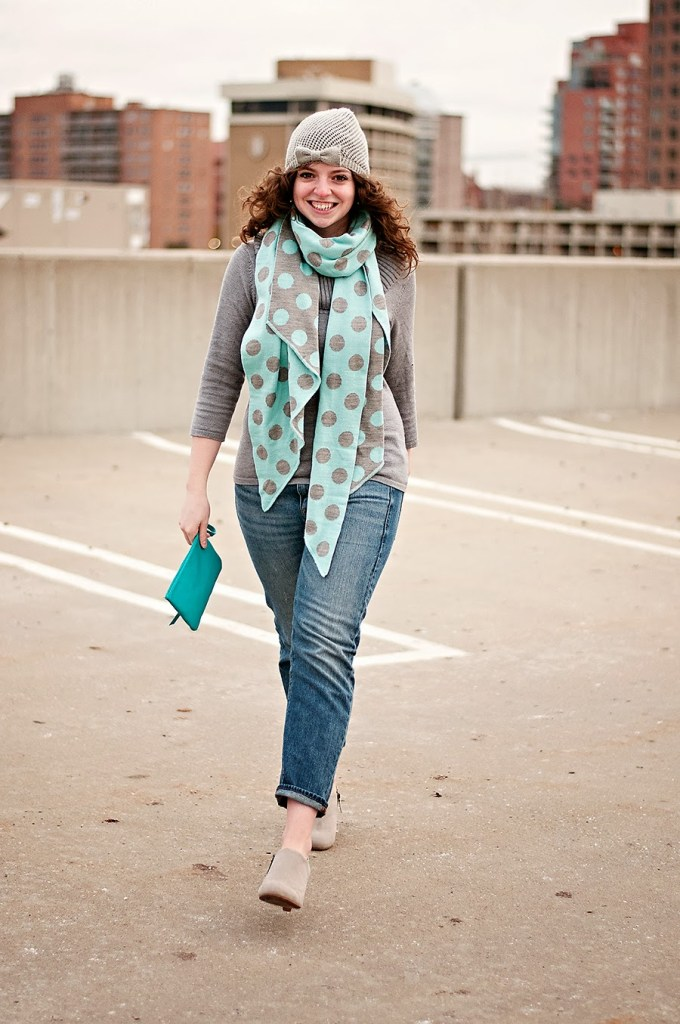 Grey and Blue Winter Outfit with polka dot scarf