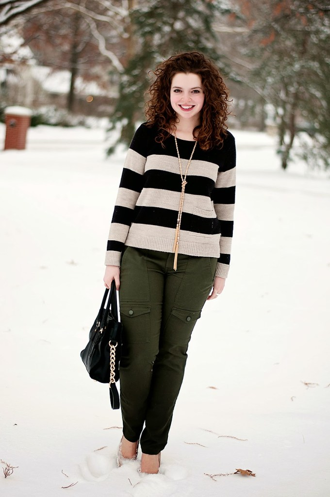 Striped shirt with olive skinnies