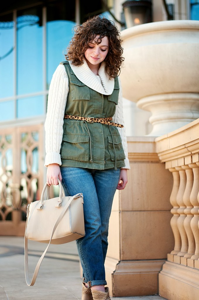 Winter Casual Outfit With Green Cargo Vest
