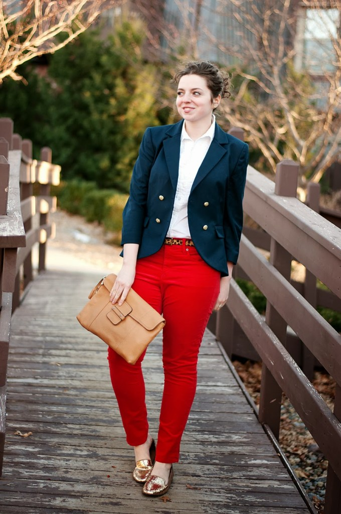 Red Corduroy pants with Leopard and a Blazer