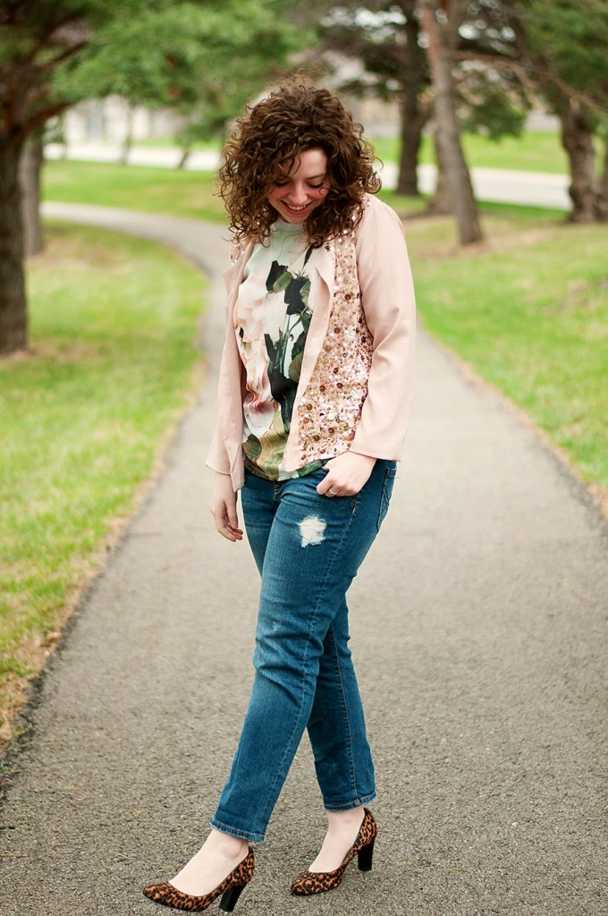 Sequin jacket with a graphic shirt and boyfriend jeans