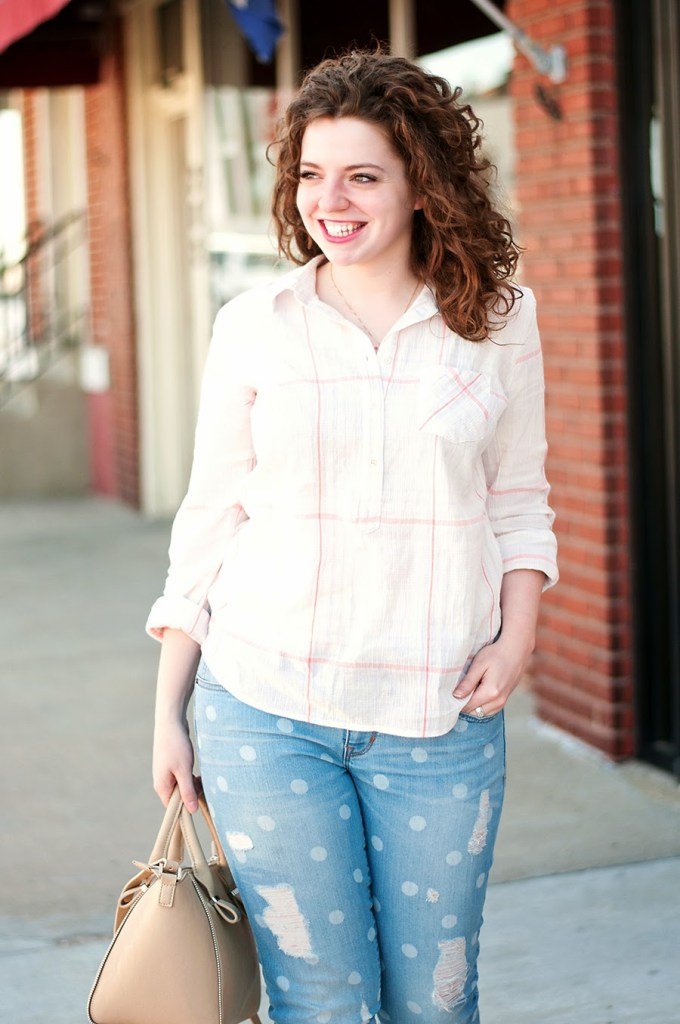 Gap polka dot jeans with a spring tunic