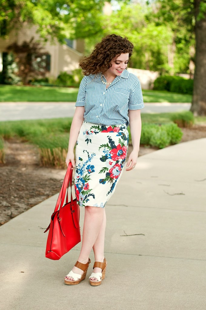 J. Crew pajama top with floral skirt