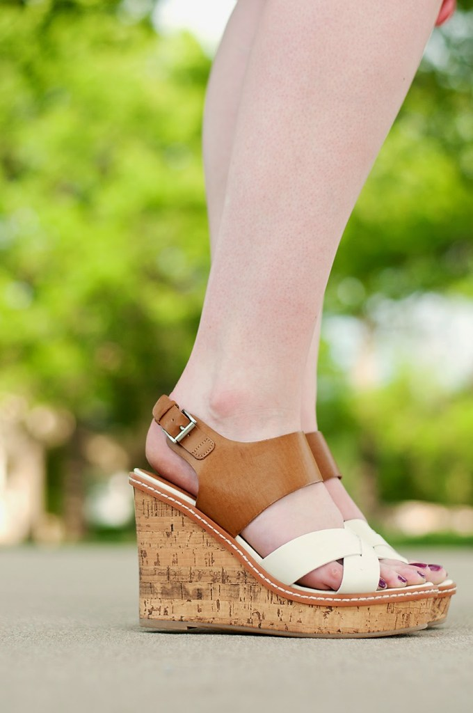 Target tan and white wedges