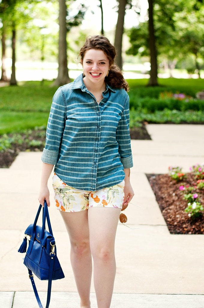 Floral shorts and striped chambray top