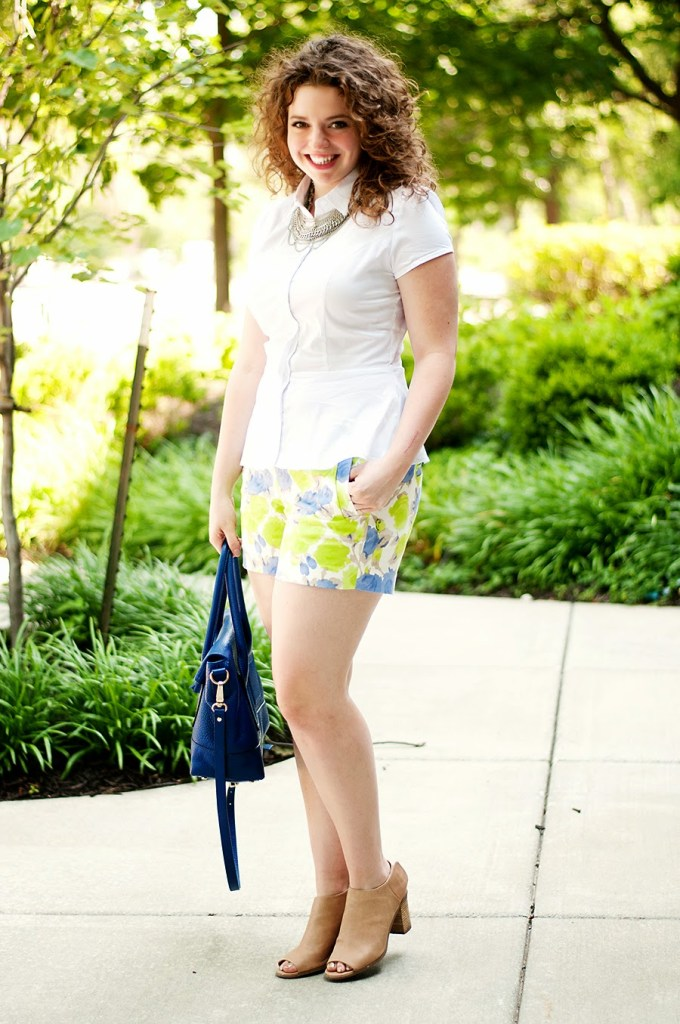 Summer shorts with open toed booties and peplum top
