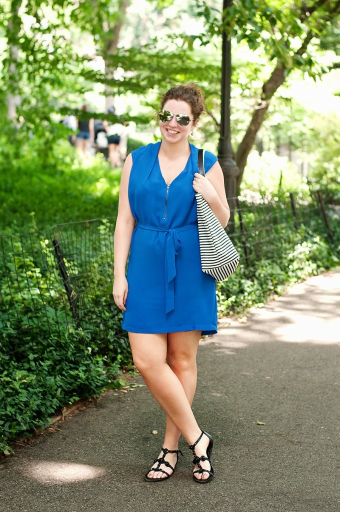 Light blue summer dress with black accessories