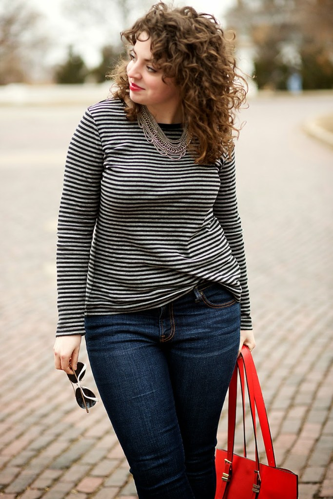Striped shirt women's casual winter outfit idea