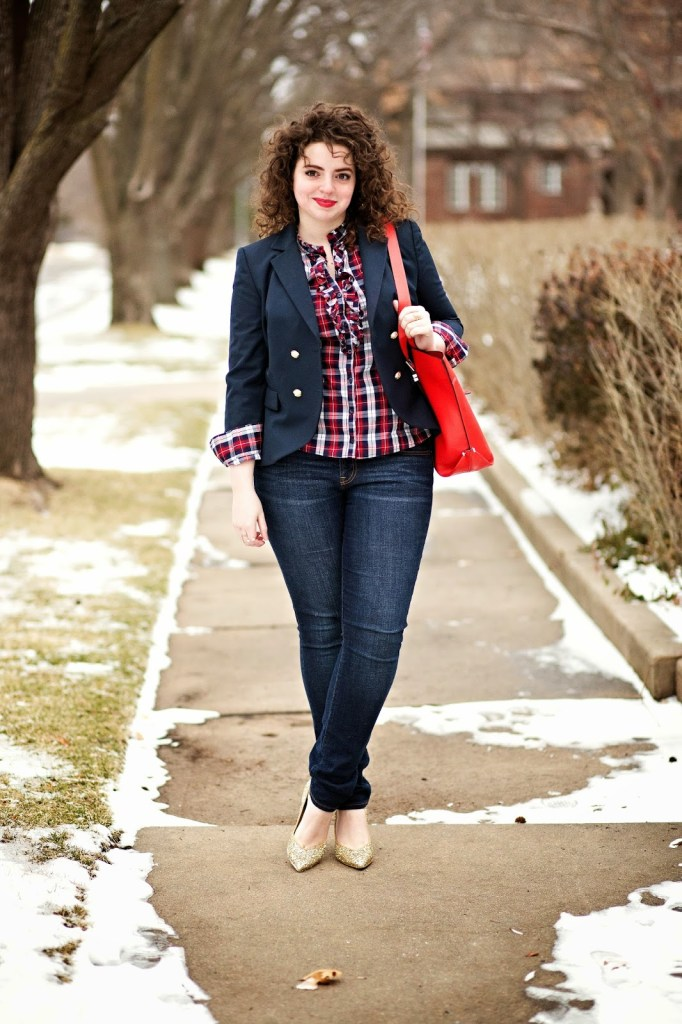 Plaid Button Down Outfit With Glitter Heels