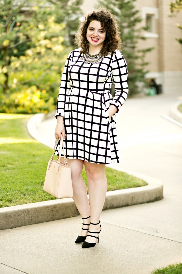 Graphic swing dress with heels for work!  Add a statement necklace to complete!