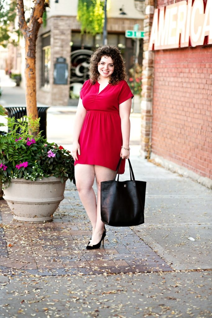 madwell fable red silk dress with heels and madewell transport tote bag