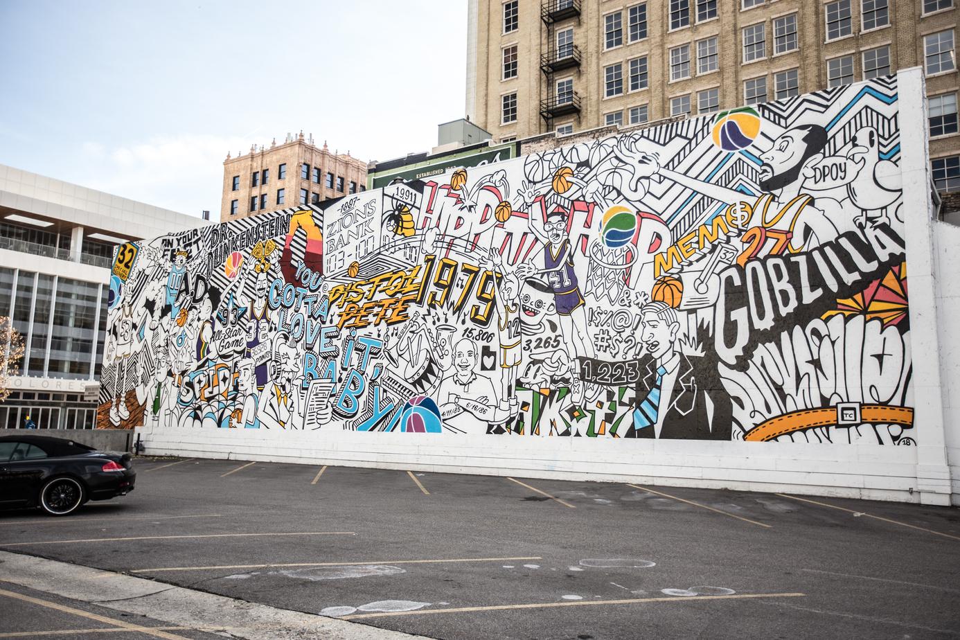 Basketball mural in Downtown Salt Lake City, Utah