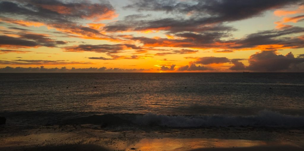 sunset Caribbean island
