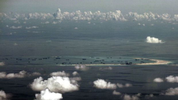 Reclamation work by China on Mischief Reef in the Spratly group of islands in the South China Sea.
