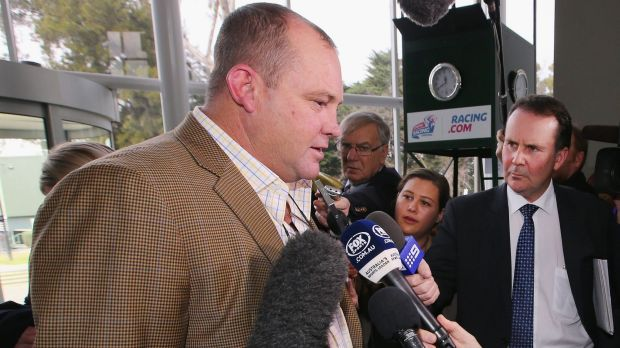 Waiting for an outcome: Trainer Peter Moody speaks to the media after his hearing.